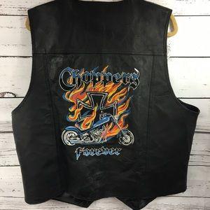Leather USA men's Black leather biker vest